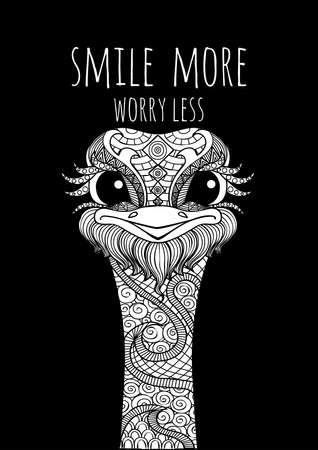 Hand drawn smiley cute ostrich with slogan SMILE MORE WORRY LESS for t shirt printing and embroidery, Graphic tee and printed tee. Vector illustration