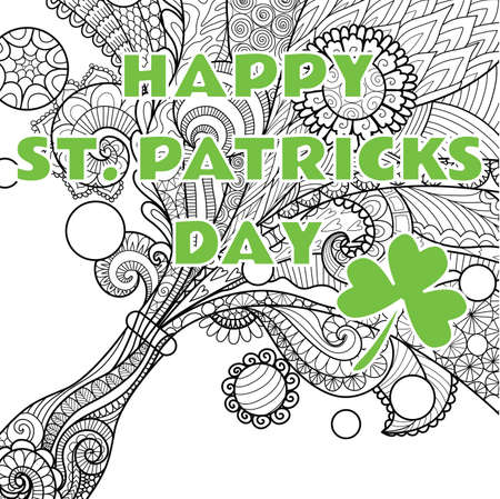 Line art design of beer bottle with the phrase Happy St. Patricks day. Vector illustration