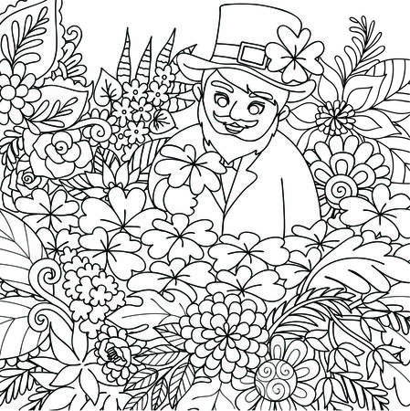 Cute St. Patrick finding clover leaf in beautiful floral jungle for coloring book page for kids and adult. Vector illustration