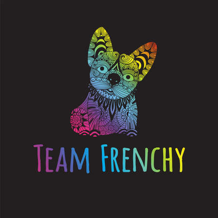Hand drawn rainbow color typography slogan team frenchy under cute zen line art french bulldogy puppy,vector illustration for t shirt printing and embroidery, Graphic tee and printed tee