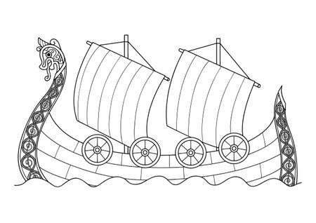 Hand drawn viking ship for coloring book page for both adult and kids, Vector illustration
