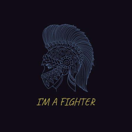 Elmetto spartano disegnato a mano, guerriero greco con sologan Sono un combattente per la stampa e il ricamo di t-shirt. Archivio Fotografico - 98183164