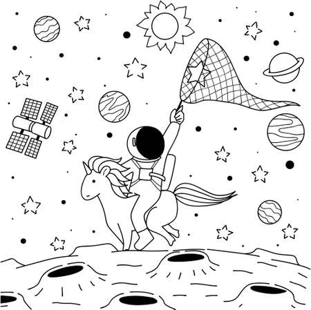 Cute funny astronaut riding unicorn to catch the star on moon for print on your product and coloring book page for relaxing.Vector illustration 向量圖像