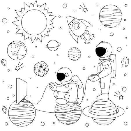 Hand drawn two funny astronauts playing video games on space for design element like print on video games and coloring book page. Vector illustration