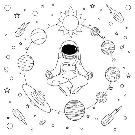 Hand drawn astronoaut doing meditation among solar system for design element and coloring book page. Vector illustration Illustration