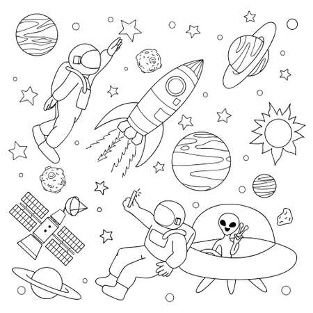 Hand drawn astronaut take a selfie with alien and play with stars on space for design element and coloring book page. Vector illustration