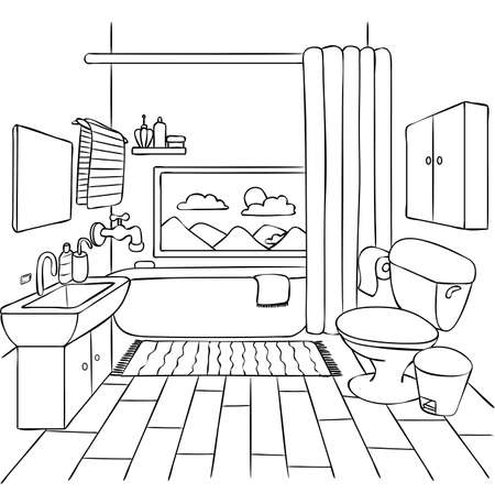 Hand drawn bathroom for design element and coloring book page for kids and adult. Vector illustration. Ilustração