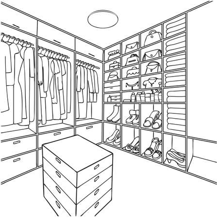 Hand drawn dressing room for illustration and coloring book page. Stock Illustratie