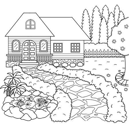 Hand drawn beautiful house and garden for design element and coloring book page. Vector illustration.