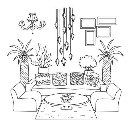 Hand drawn living room for design element and coloring book page. Vector illustration