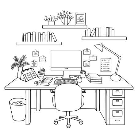 Hand drawn working room isolated on white background for design element and coloring book page. Vector illustration.