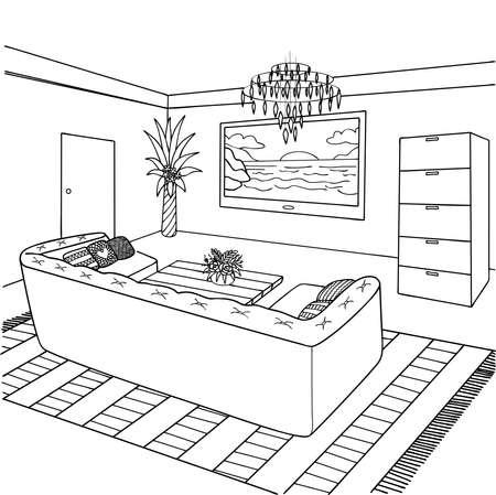 子供と大人のためのデザイン要素と塗り絵のページのための手描きのリビングルーム。ベクトル図