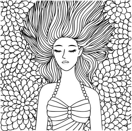 Hand drawn beautiful girl sleeping on flowers for design element and coloring book page.Vector illustration Illustration