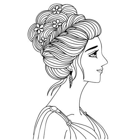 Hand drawn a woman with beautiful hair for design element and coloring book page. Vector illustration
