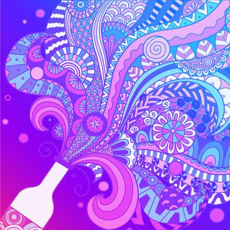 Ultra violet color champagne bottle line art design for background,poster,banner,illustration. Stock vector