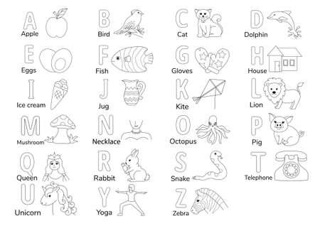 Alfabetos incoloros con la ilustración de la A a la Z para colorear la página del libro para niños, vector de hoja de trabajo de aprendizaje de letras en inglés.
