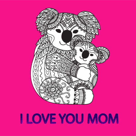 Hand drawn cute Koala mother hugging her baby with the slogan I LOVE YOU MOM for printed tee and other design element. Vector illustration