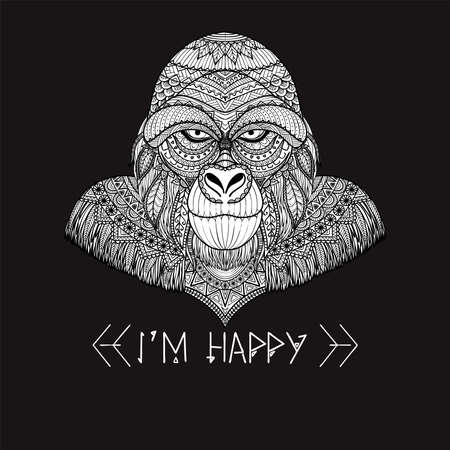 Zen doodle of gorilla with serious face and sarcastic slogan I AM HAPPY for printed tee Vector illustration Çizim
