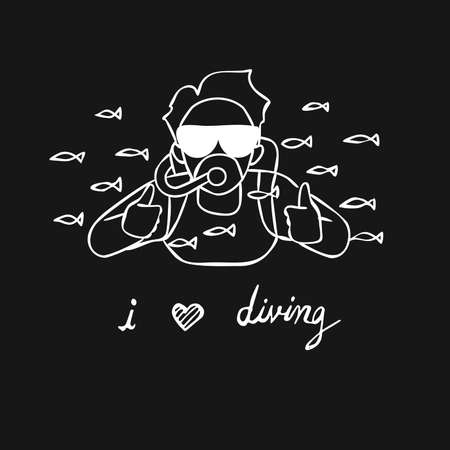 Hand drawn man doing scuba diving among little fish and thumbs up with slogan i love diving Vector illustration Ilustração