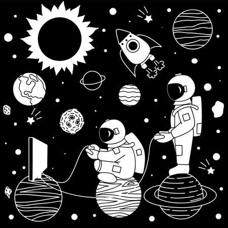 Funny cute astronaut playing video game with his best friend on their own space. Design for printed tee and other design element.