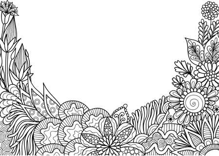 Hand drawn style floral with copy space for backdrop,wallpaper,printed card and so on. Vector illustration