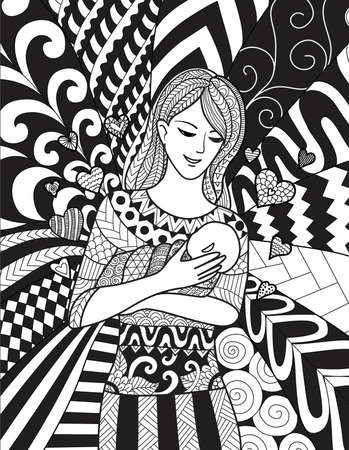 Mother holding her baby with love, For design element and colouring book page. Vector illustration