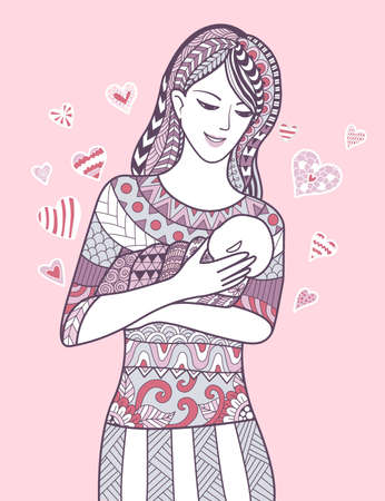 Mother holding her baby with love. Illustration