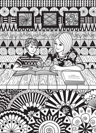 Mother help with her son's studies for card and coloring book page. Vector illustration