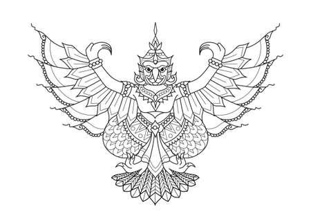 Garuda de half mens half vogel, dier in Thaise literatuur voor ontwerpelement, bedrukt T-shirt en kleurboekpagina. Vector illustratie Stockfoto - 101384073