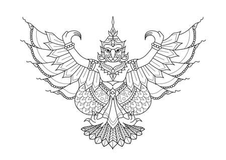 Garuda the half human half bird, animal in Thai literature for design element,printed tee and coloring book page. Vector illustration Иллюстрация