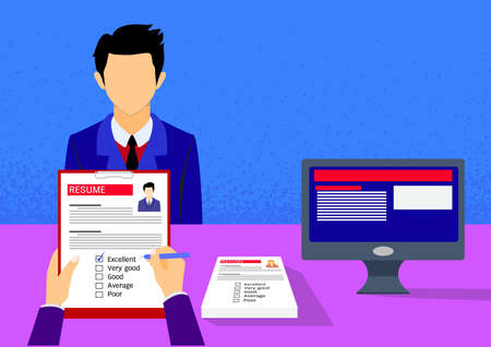 Employer interviewing and valuating a young candidate with copy space.Vector illustration Illusztráció