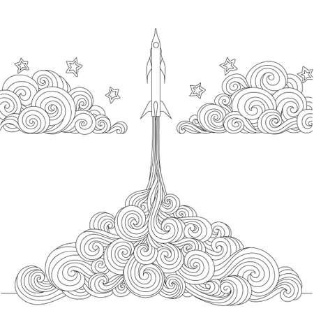 Strichzeichnungen eines Raketenstarts für Designelement und Malbuchseite. Vektorillustration Vektorgrafik