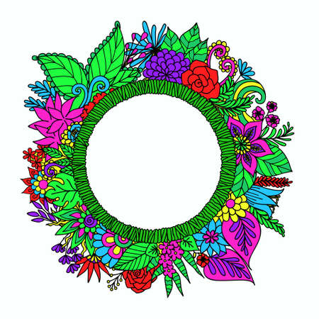 Hand drawn round banner with flowers,leaves and copy space for your customs texts for design element and coloring book page.Vector illustration