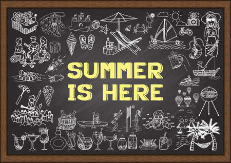 Hand drawn illustration about summer activities and the word SUMMER IS HERE in the middle. Vector illustration.