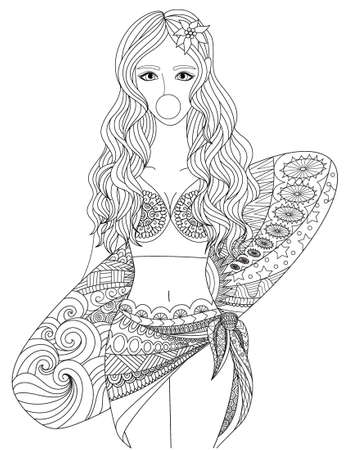 Line art design of sexy girl wearing swimming suit holding surf board for printed tee and coloring book page. Vector illustration