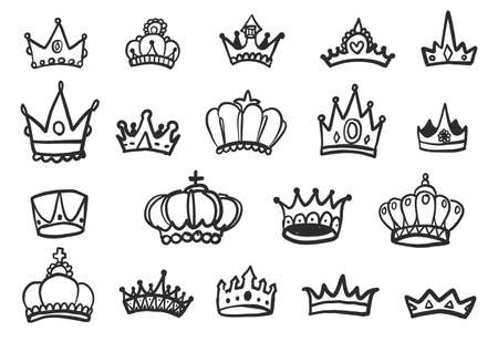 Set of hand drawn crowns isolated on white background. Vector illustration Illustration