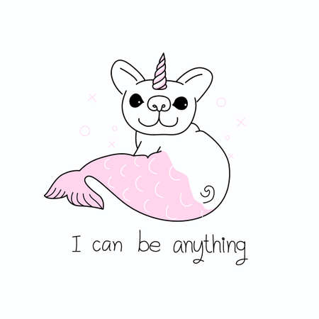 Lined cartoon of cute Pug dog with unicorn horn and mermaid tail with slogan I CAN BE ANYTHING for printed tee. Vector illustration Ilustrace