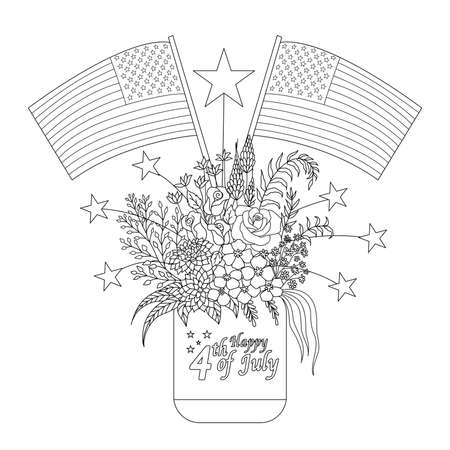 American flags on flowers and decorations on a mason jar for design element and coloring book page. Vector illustration