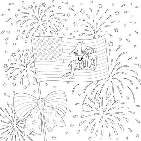 Lines design of American flag with firework, happy 4th of July for design element and coloring book page. Vector