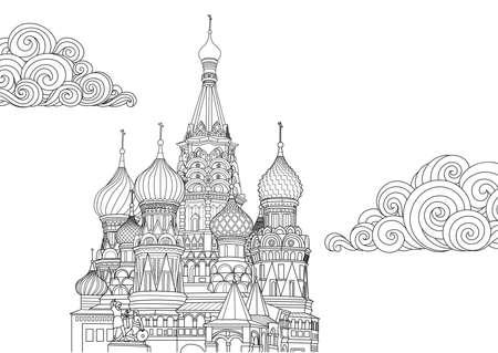 Line art design di San Basilio a Mosca, Russia per elemento di design e pagina del libro da colorare. Illustrazione vettoriale Vettoriali