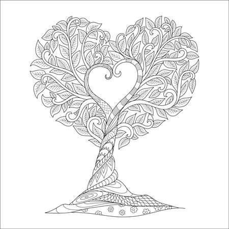 Strichzeichnungen des Baumes in Herzform für bedrucktes T-Stück, Gravur, Malbuchseite und andere Gestaltungselemente. Vektor-Illustration