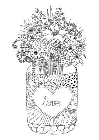 Line art design of flowers on a mason jar for engraving,Valentines card, coloring book page and another design element.Vector illustration