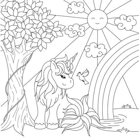 Cute unicorn watching rainbow on the pond for design element and coloring book page. Vector illustration 矢量图像