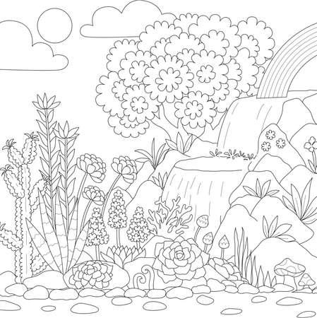 Arte lineal de cascada con hermosas flores para colorear página de libro. Ilustración vectorial Ilustración de vector