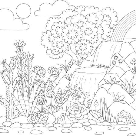Strichzeichnungen des Wasserfalls mit schönen Blumen zum Ausmalen der Buchseite. Vektor-Illustration Vektorgrafik