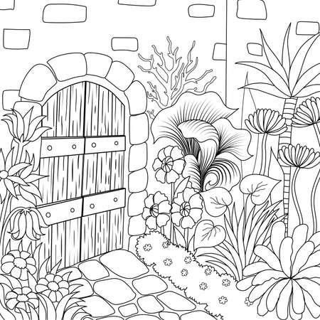 塗り絵ページのための美しい庭のシンプルなラインアート。ベクトルの図