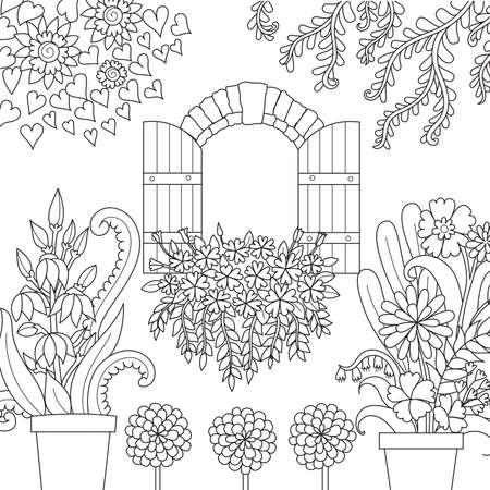 Window and beautiful garden for coloring book page. Vector illustration Archivio Fotografico - 106010155