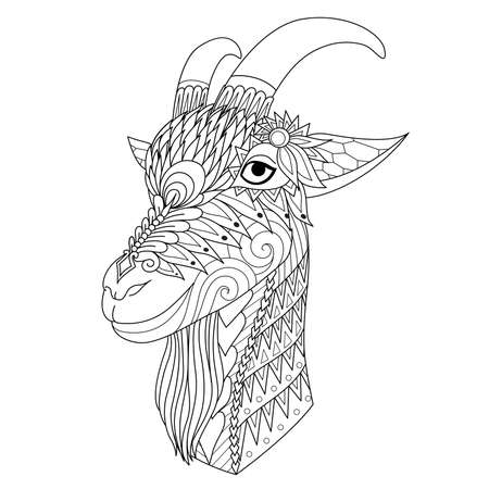 Intricate line art of happy sheep for design element and coloring book page Vectores