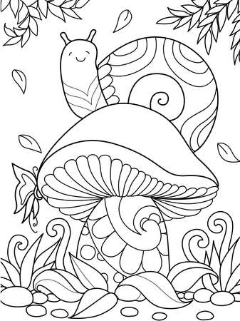 Simple line illustration of cute snail sitting on mushroom in autumn season for coloring book page on app. Stock vector Ilustracja
