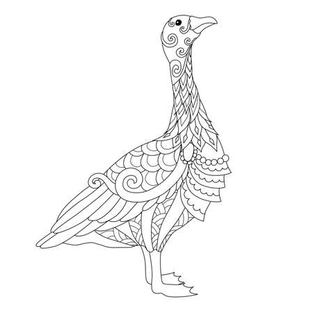Line art of cute goose in York city, Uk. for design element and coloring book page. Vector illustration Иллюстрация